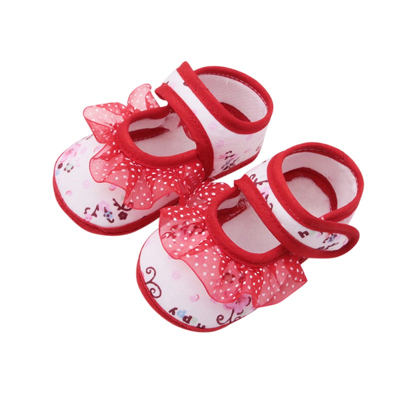 Toddler Shoes Baby-Girls Casual New Lace Small Print Cotton