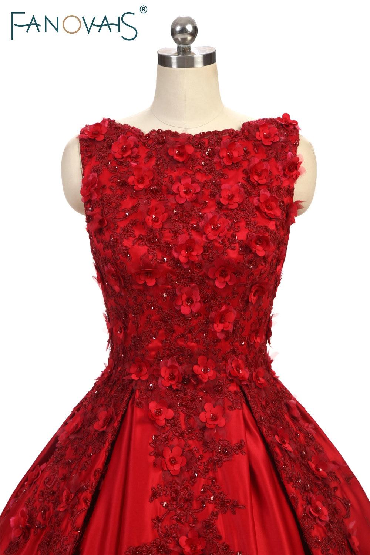 Suknie balowe proste burgundowe Koronkowe suknie wieczorowe 3D kwiat - Suknie specjalne okazje - Zdjęcie 4