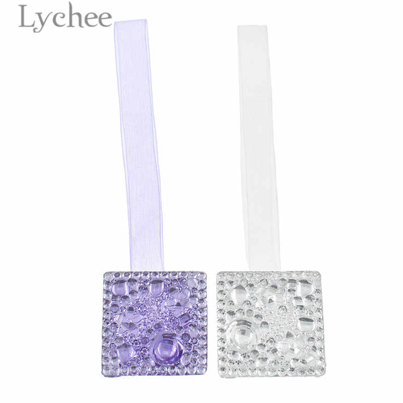 Lychee 1 PC Square Shaped Curtain Buckles Modern Purple Silver Color Magnetic Curtain Holder Curtain Accessories Home Decoration