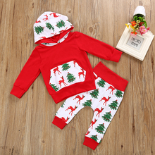 2018 new year cartoon Deer Christmas tree hoodies sweater suit 0-2 year old boys and girls in long sleeved suit