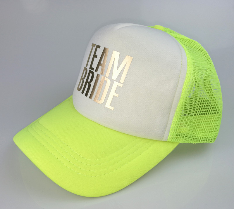 C Fung original deisgn BRIDE TEAM BRIDE Bachelorette Party Trucker hat Caps  White Neon gold glitter print hats summer style-in Baseball Caps from  Apparel ... 649cdb10fba5