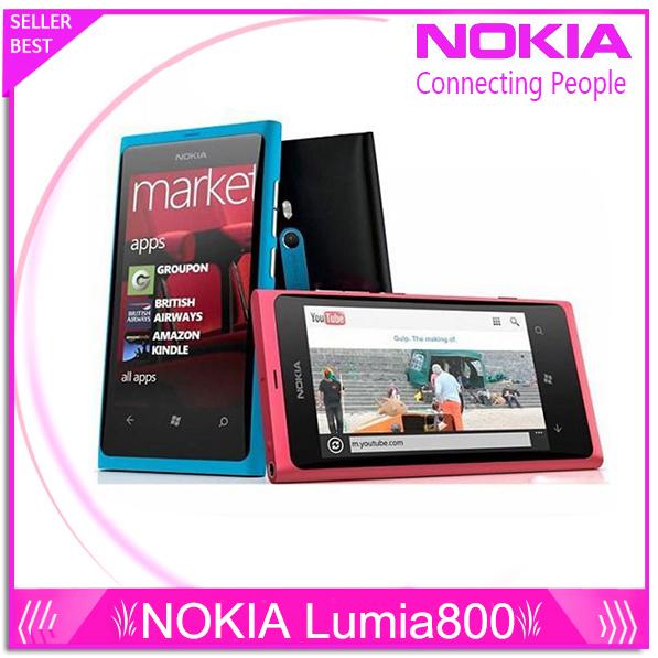 "Teléfono original Lumia 800 Windows Phone 3.7 "" nokia Lumia 800 teléfono móvil ROM 16 GB cámara 8.0MP Wifi GPS Bluetooth 3 G del teléfono celular"