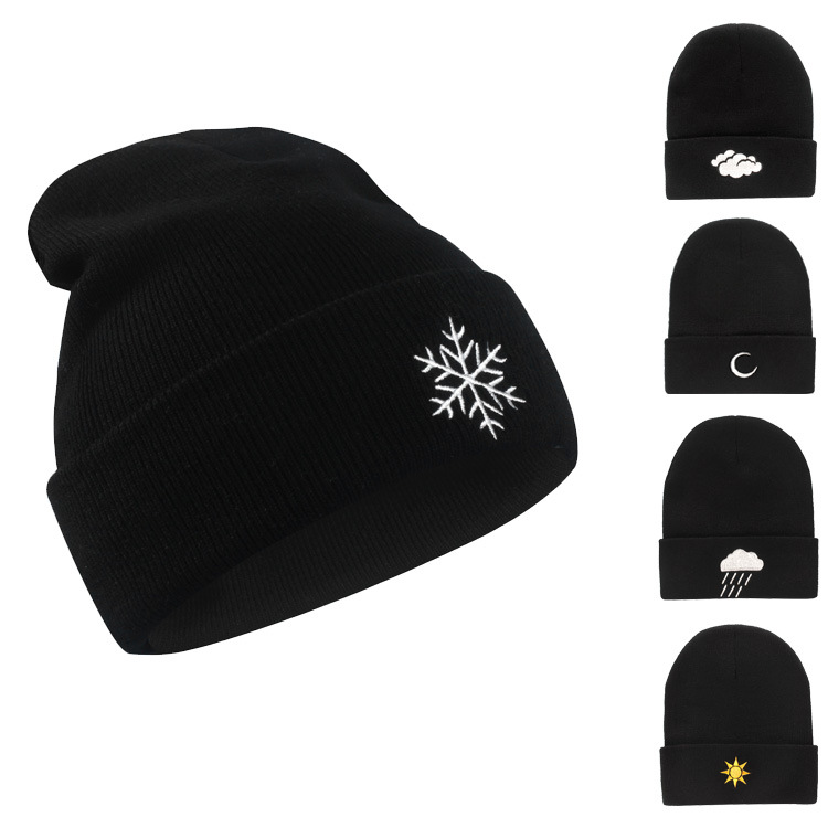 Earnest & Unisex Embroidery Knitted Hat Women Men Hat Snowflak Winter Knitted Wool Cap Hip-hop Skullies Hat Beanie Hat Casual Gorro Cap Activating Blood Circulation And Strengthening Sinews And Bones Apparel Accessories