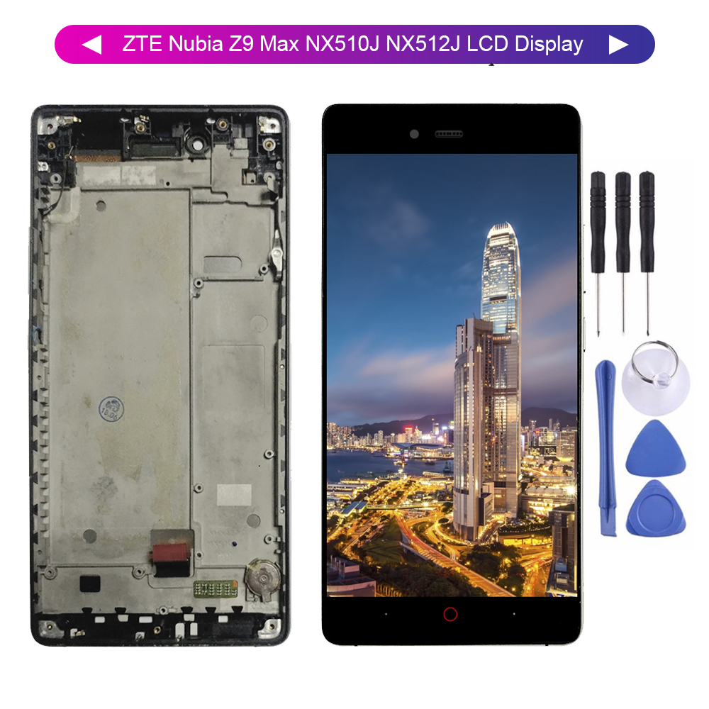 Para ZTE Nubia Z9 Max NX510J NX512J LCD Screen Display Touch Panel Digitador Assembléia de Vidro com Moldura