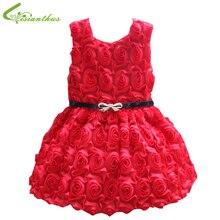 Filles Rose fleur robe bébé princesse gilet robe avec ceinture 2-4Y Chirldren d'été sans manches robe gros Drop Shipping gratuit