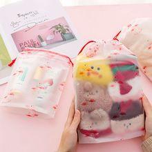 Cartoon Transparent Waterproof Pvc Mobile Beam Pocket Towel Underwear Cosmetics Storage Drawstring Bag