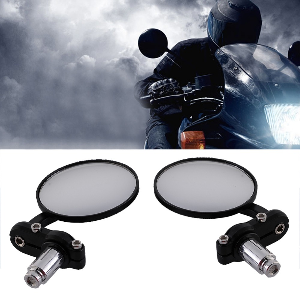 "universal Black Motorcycle rearview Mirrors 7/8"" For BMW Ducati Aprilia Cafe Racer Victory Triumph Daytona 675 for cafe racer"