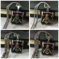 Top Hot Sell Men Boy 316L Stainless Steel Silver Gold Black Freemasonry Masonic Mason Pendant Byzantine Chain Necklace Jewelry