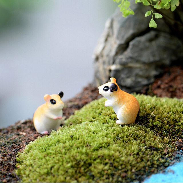 2pc Hamster Figurine Miniature Decoration for mini fairy garden animal statue Similation resin craft Home Car Decoration 3