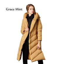 Long Hooded Down Jacket Winter Thick Warm Fashion Women Outerwear & Coats M/L