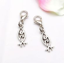 Hot Sell !  10pcs Antique Silver Zinc Alloy Double-sided Fish Charm with Lobster Clasp Fit Bracelet 34 x18mm cv23