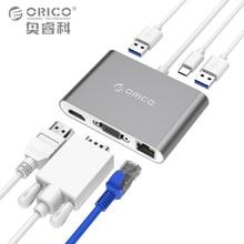 ORICO Тип-C док-станция для ноутбука Тип-C VGA HDMI RJ45 Тип-C Тип- конвертер Поддержка PD multi Функция для macbook pc
