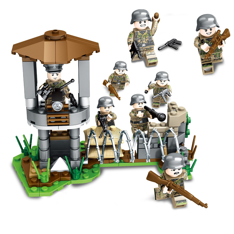 8PCS Weltkrieg 2 German Assault Soldiers Tower Command Weapons Figure Building Blocks Toys For Children Legoinglys Military Toys