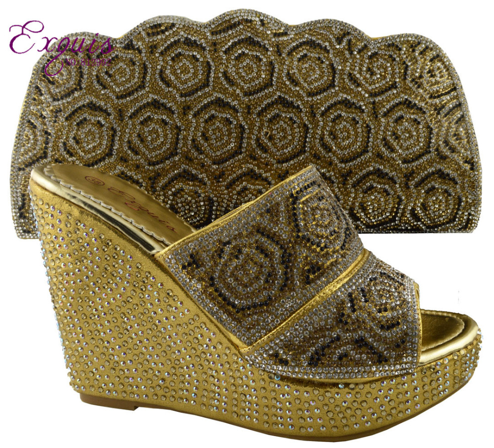 ФОТО Hot selling specialty Italy matching shoes and bag with a lot of shine stone.for retail and wholesale 1308-L62 gold size38-42