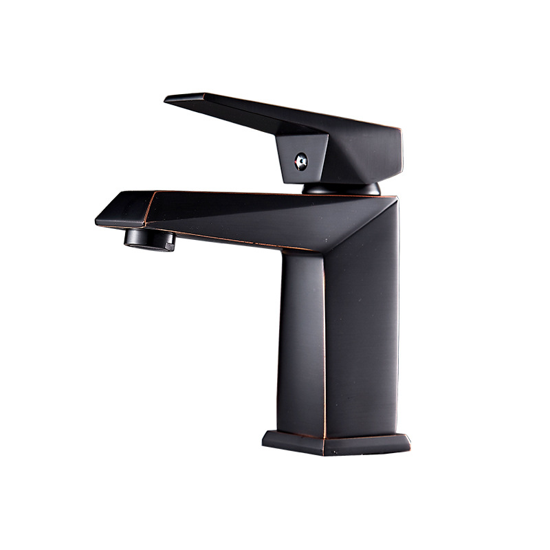 Bathroom faucet basin faucet black ancient red copper kitchen simple wash basin faucet above counter basin hot and cold faucet european style hot and cold basin faucet black faucet black ancient stage basin hot and cold waterfall faucet lu41223