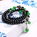 JoursNeige Natural Stone Black Agate Bracelets 108 Beads 6mm Round Crystal Multilayer Fashion For Women  Jewelry Accessories