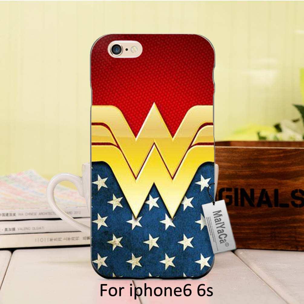 Maiyaca мягкий черный ТПУ Силиконовые Wonder Woman настроить мультфильм Специальное предложение Телефон чехол для iPhone SE 5S 6S 7 Plus чехол