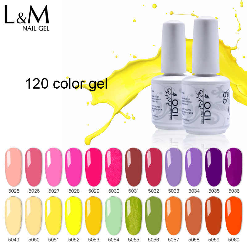 1 PC Ido 15 Ml Gelatu Seri Kuku Warna-warni 120 Warna Gel Nail Polish UV/LED Lampu Kuku Seni gel Tahan Lama