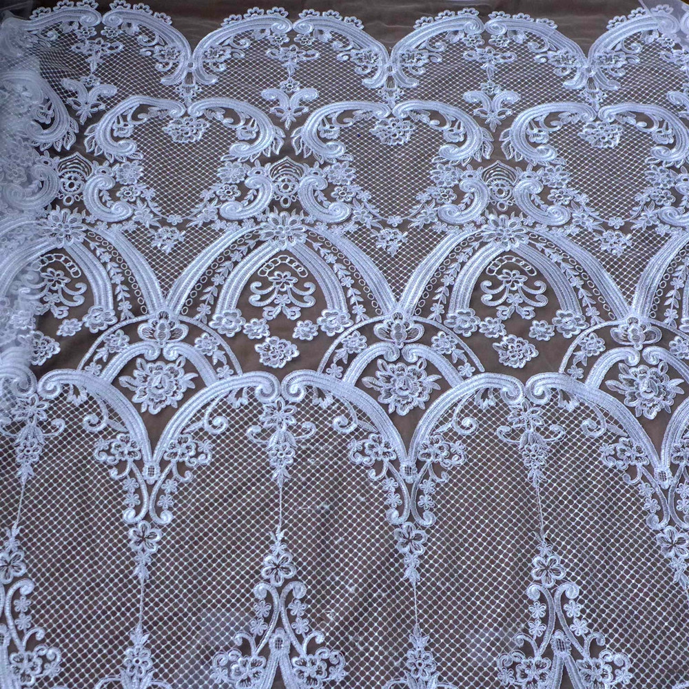 High end elegant fine workmanship off white black tulle mesh embroidered wedding lace fabric with cording