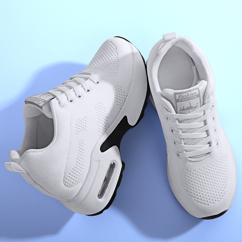 WADNASO Flying Knitting Fashion Sneakers Women Hide Heels Casual Shoes Breathable Platform Sneakers Wedge White Shoes XZ120 (14)