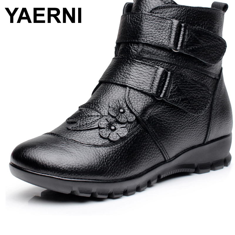 YAERNI Winter Shoes Women Flats Ankle Boots Woman Fashion Genuine Leather Wedges Boots Mother Casual Non-slip Warm Snow Boots new winter shoes 2017 women boots casual ankle boots women slip on flats platform shoes with plush warm snow boots 7e27