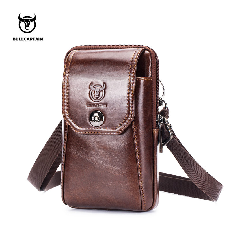 BULLCAPTAIN Cow Leather Waist Packs Fanny Pack Belt Bags Phone Pouch Travel Small Bag Men Shoulder