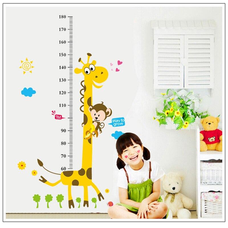 Gyermek magasság diagram fal matrica lakberendezés rajzfilm zsiráf magasság uralkodó lakberendezés szoba matricák fal művészeti matrica háttérkép
