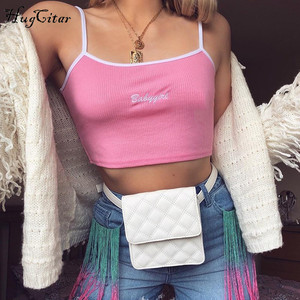 Image 5 - Hugcitar letters Embroidery spaghetti straps patchwork sexy crop tops 2018 summer women fashion camis