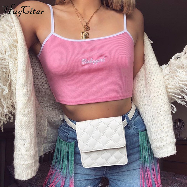 Hugcitar letters Embroidery spaghetti straps patchwork sexy crop tops 2018 summer women fashion camis 4