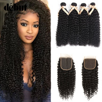 Debut Mongolian Hair Bundles With Closure 28 Inch Curly Bundles With Closure 3/4 Human Hair Bundles With Closure Hair Extension