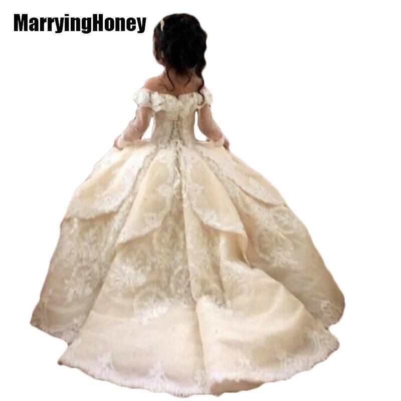 Платья для девочек на свадьбу для свадеб с поезд Кружево бальное платье принцессы для девочек Vestido De daminha принцессы Vestido Robe FILLE