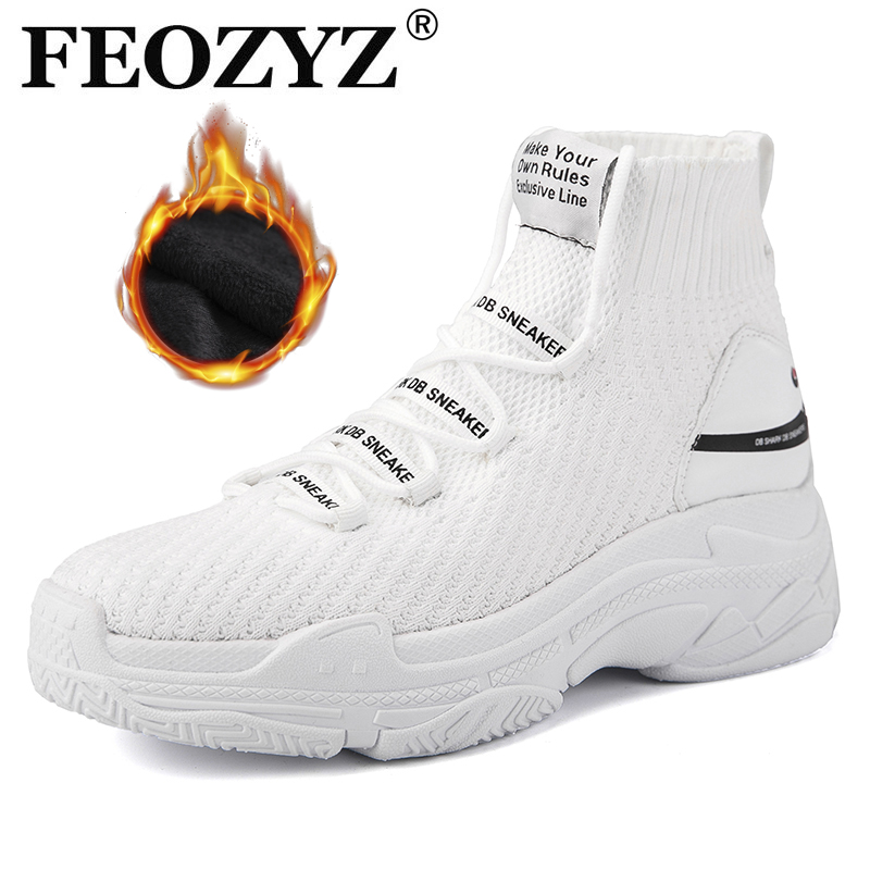 FEOZYZ High Top Running Shoes For Men Women Thermal Winter Shoes Women Men Fur Lining Sport