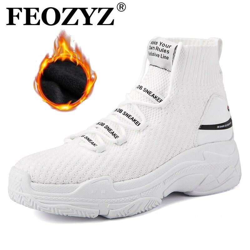 FEOZYZ alta Top zapatillas para hombres mujeres invierno térmica mujeres hombres piel forro zapatos del deporte grueso tiburón zapatillas