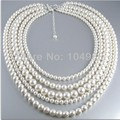 FREE SHIPPING 2014 Style BY-237 Women Fashion Imitation Pearls Necklace Five Layers Beads Necklace