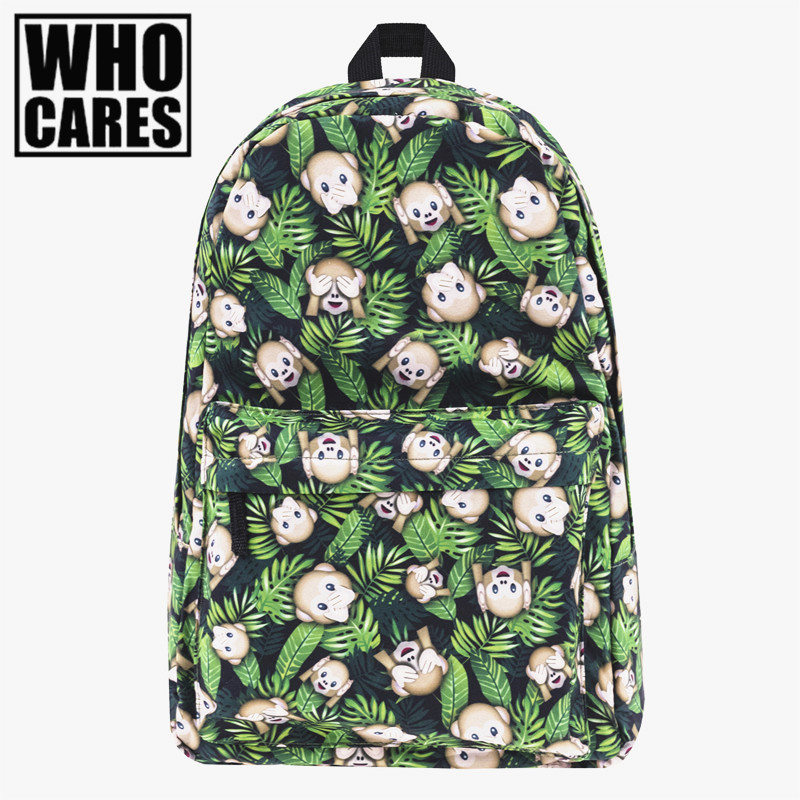 Funny monkeys weed Print backpack women Who Cares New  mochila bookbag school bags for teenage girls sac a dos canvas backpacks vintage cute owl backpack women cartoon school bags for teenage girls canvas women backpack brands design travel bag mochila sac