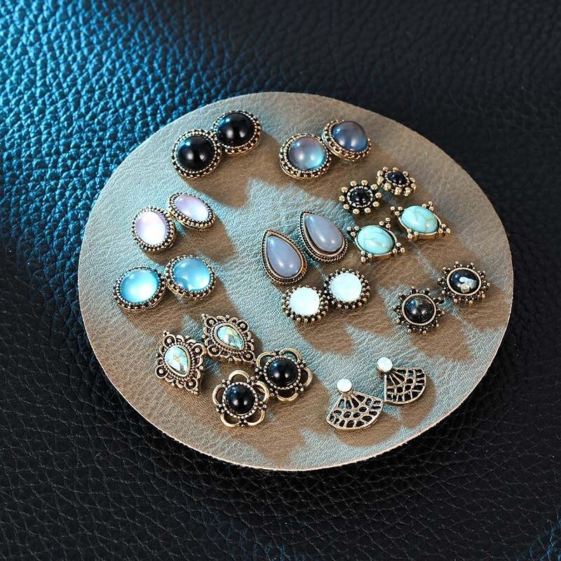 12 Pairs/set Vintage Female Crystal Rhinestone Opal Stud Earrings Set For Women Fashion Round Geometric Flower Earring Jewelry