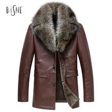 NEW Fashion Fur Jacket Split Sheepskin Leather Coat With Fleece Lining Winter Warm Outwear Raccoon Fur Collar Leather Jacket Men