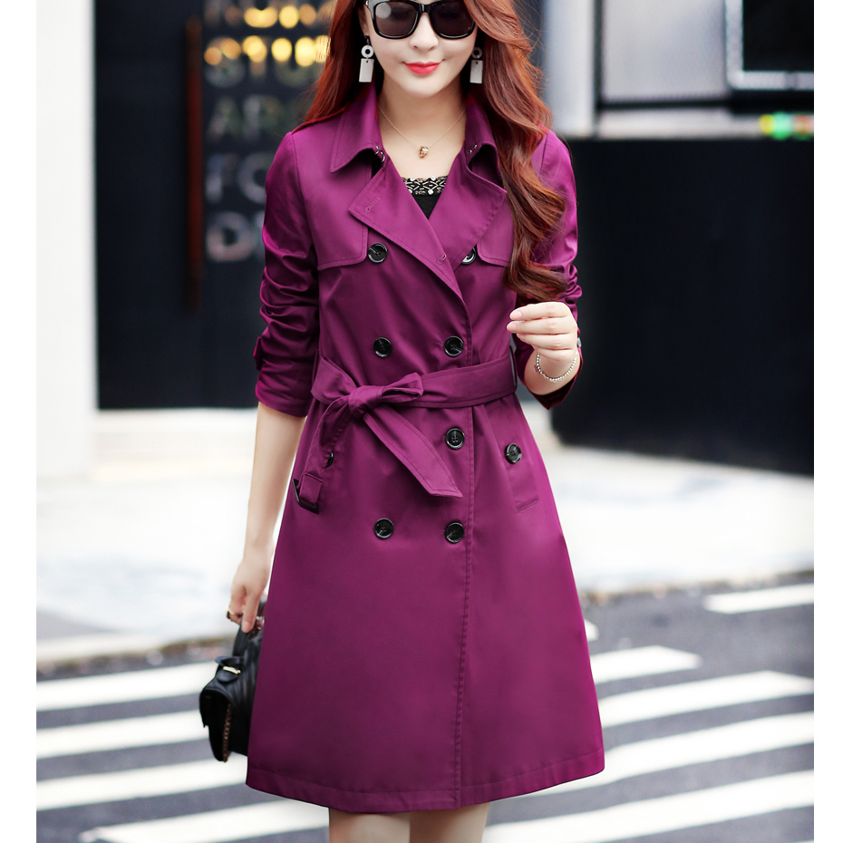 Slim slimming   trench   coat in the long section of the new large size spring and autumn coat women's long-sleeved British wind