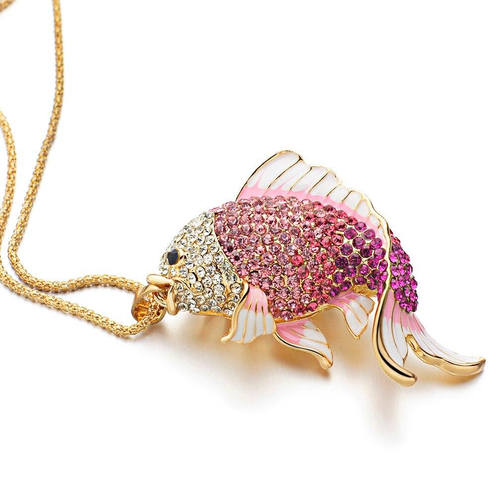 2018 Baru Merek Ikan Kristal Ikan Mas Enamel Berlian Imitasi Kalung - Perhiasan fashion - Foto 4