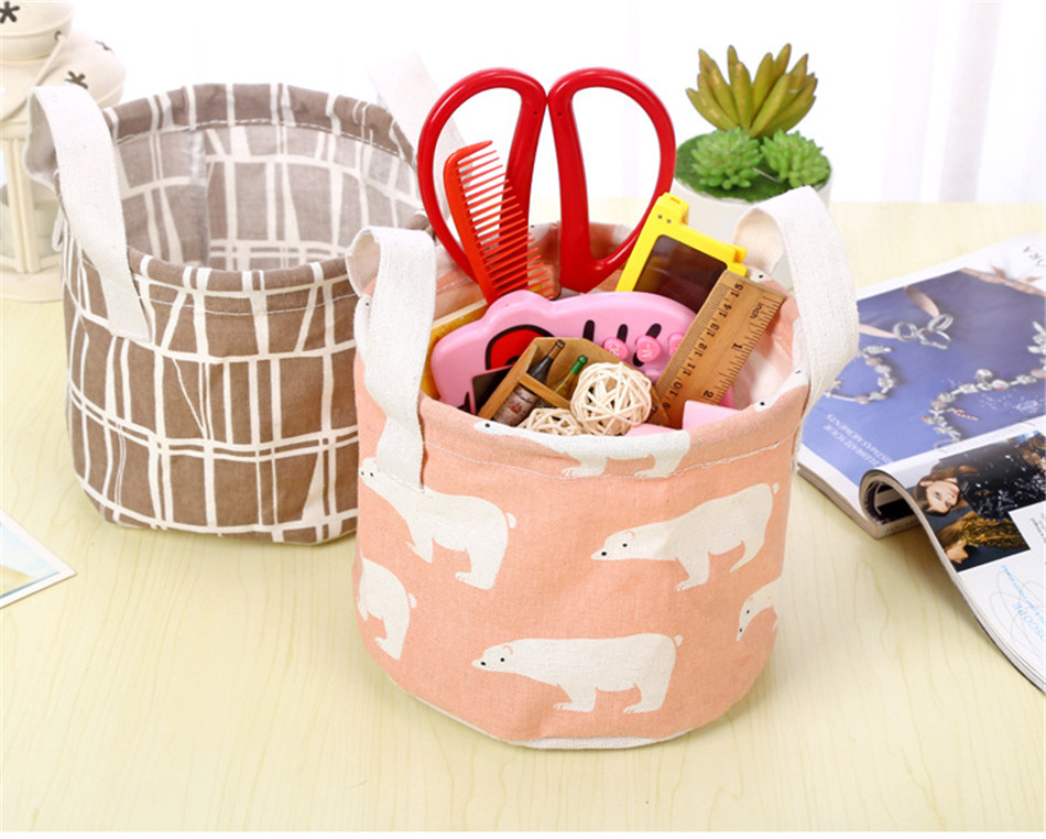 Cute Printing Cotton Linen Desktop Round Storage Organizer Sundries Box Cabinet Underwear Jewelry Cosmetic Stationery Basket (5)