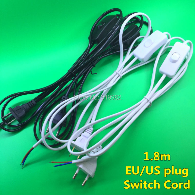 3 PCS On Line Cable 1.8m On Off Power Cord For LED Lamp with Push Button switch US EU Plug Wire Light Switching Black White cc 923 cable cord holder wire winder black white 6 pcs