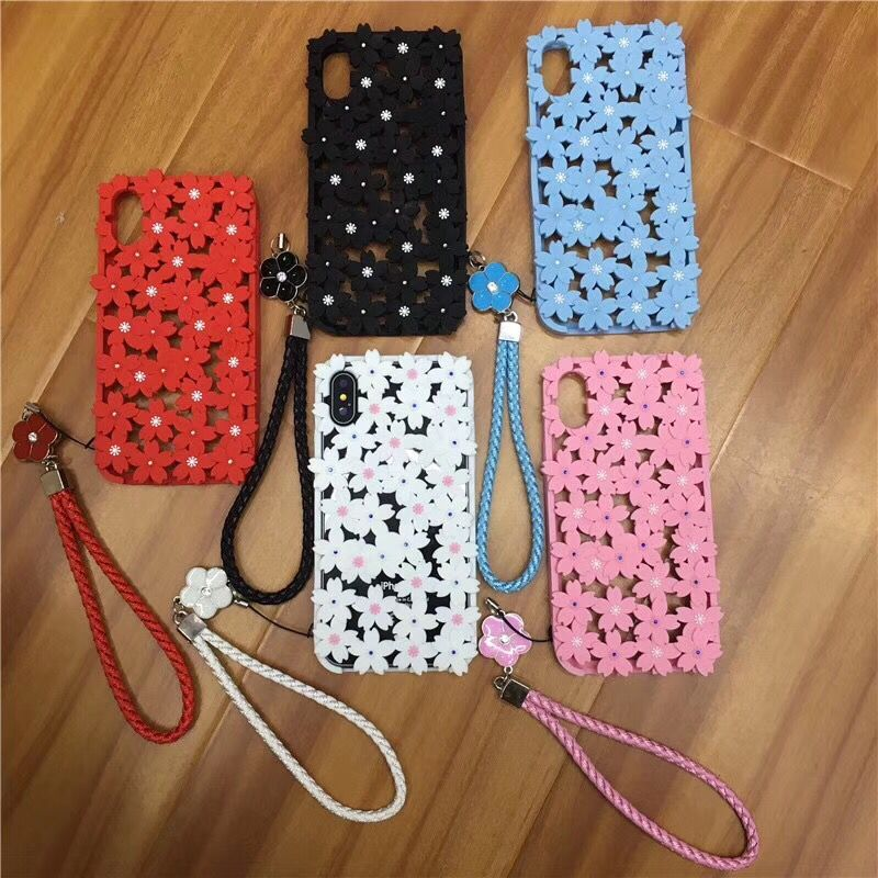 3d Hollowed Cherry blossoms Flowers Beads Soft Silicone phone Case for iPhone XS MAX XR X 7 8 6 6S plus with glitter strap shell in Fitted Cases from Cellphones Telecommunications