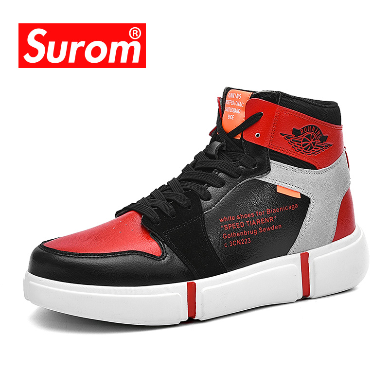 SUROM Casual Leather Shoes Men Fashion Lace Up Sneakers High Top Comfortable Breathable Athletic Male Shoes Classic nike men s indee high shoes athletic sneakers leather white