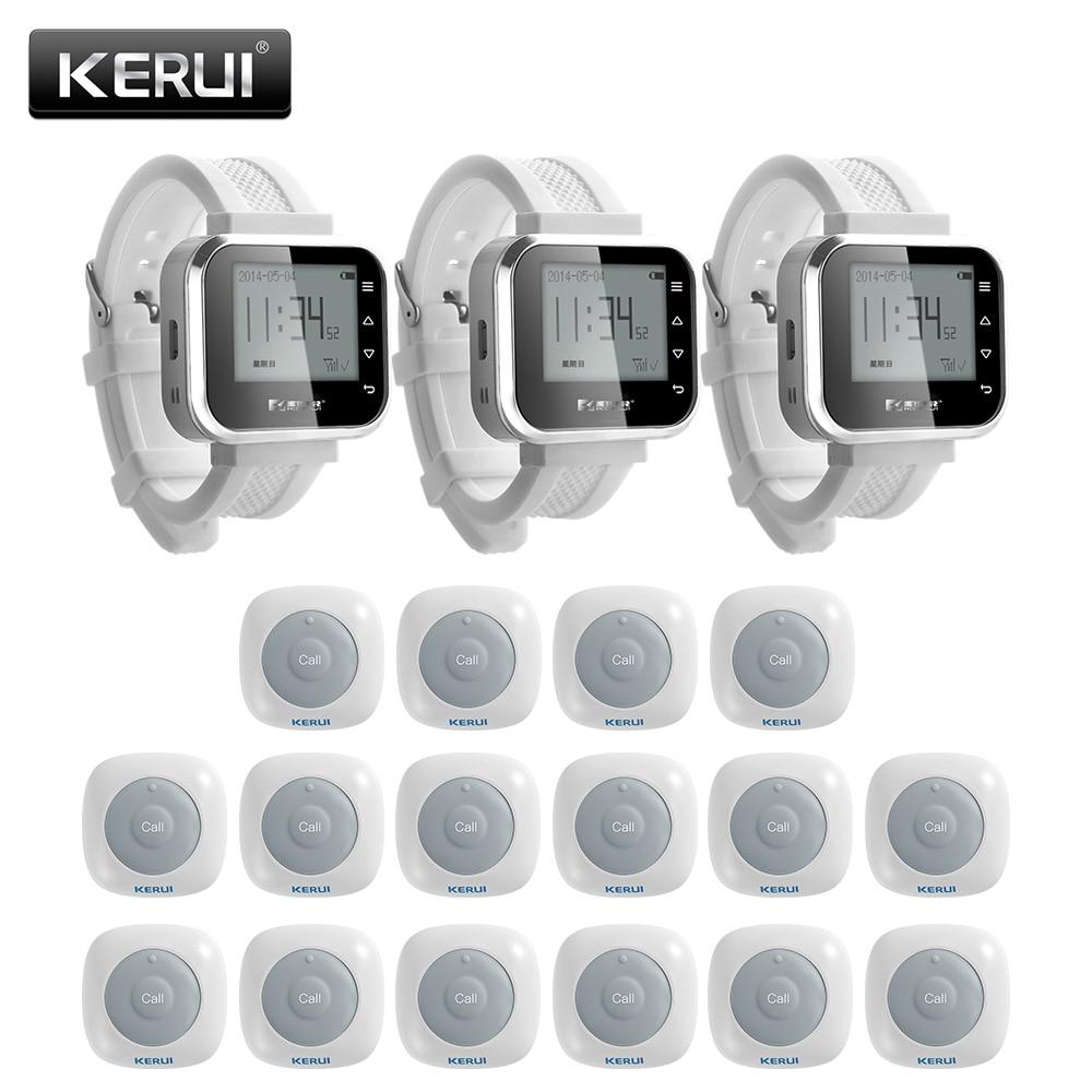 KERUI 16 ps système d'appel étanche bouton Buzzers système d'appel serveur système d'appel 3 ps montre intelligente système de Service de Restaurant téléavertisseur