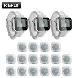 KERUI 16 ps wodoodporna połączeń przycisk systemu brzęczyki obsługa kelnerska wywołanie systemu 3 ps smart watch Pager System obsługi dla restauracji -