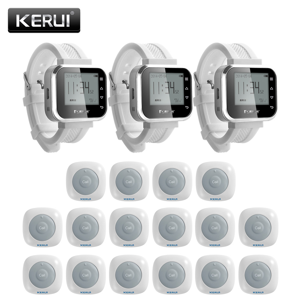 KERUI 16ps Waterproof Call System Button Buzzers Waiter Service Calling System 3ps Smart Watch Pager Restaurant Service System