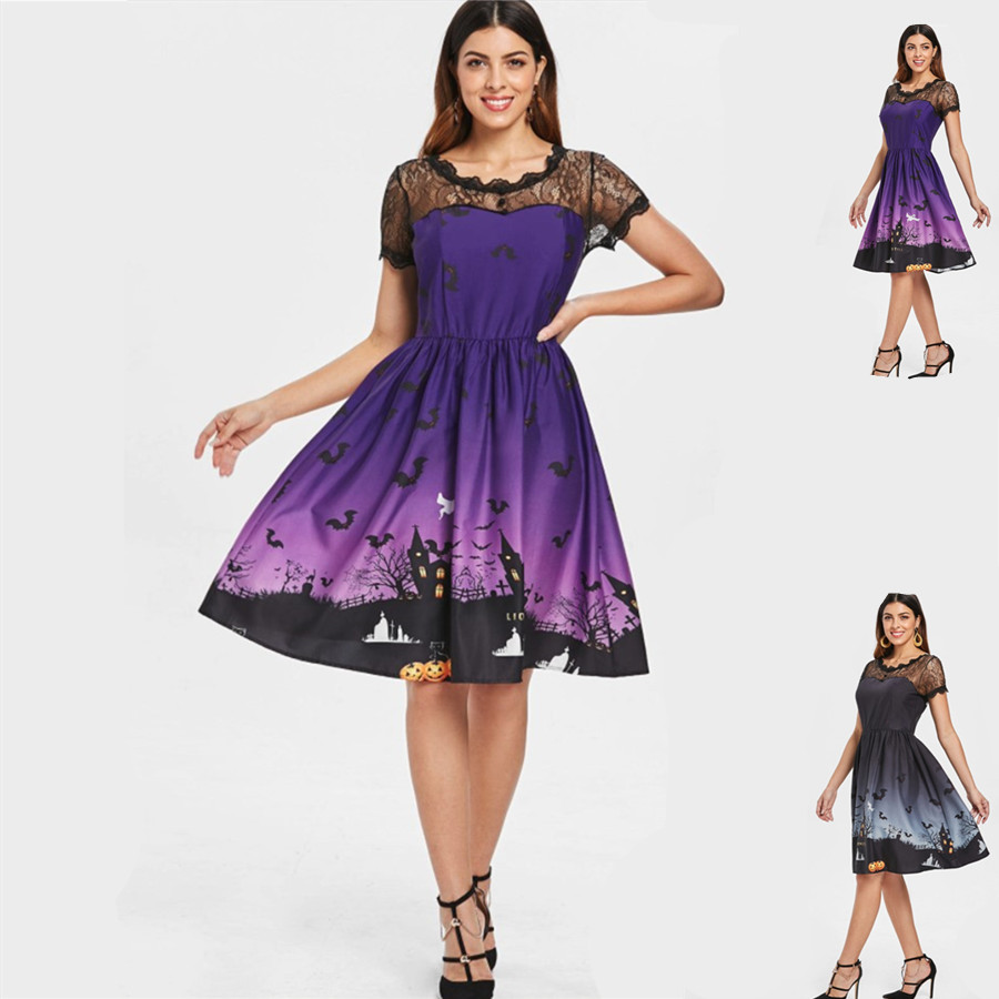 Jack-O'-Lant Dresses Cosplay Halloween Jack-O'-Lant party costume performance street dress vogue Lady print lace patchwork dress