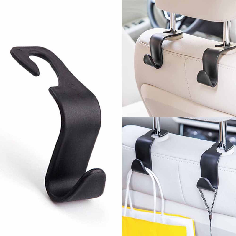2Pcs Car Seat Back Hook With Phone Holder Vehicle Headrest Seat Back Hanger Holder Hook Universal Mount Storage Auto Accessories