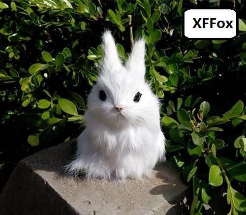Маленький милый реальной жизни Кролик модель пластик и меха Белый Кролик модель кукла украшение для дома подарок около 12x8 см xf1947