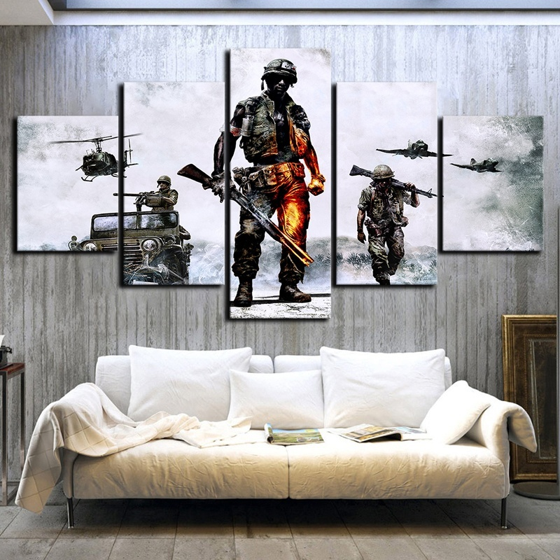 5 Piece Fantasy Shooting Game Poster Battlefield HD Wall Picture Canvas Art for Living Room Wall Decor 1